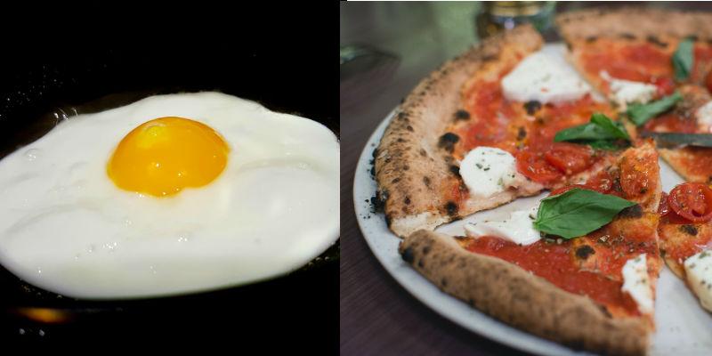 Huevo frito vs porción de pizza Margarita (PIxabay)