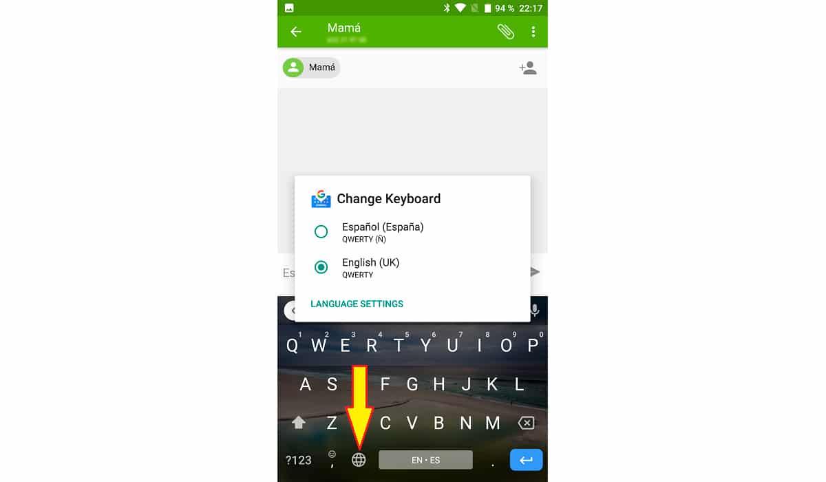 Mudar idioma teclado Android